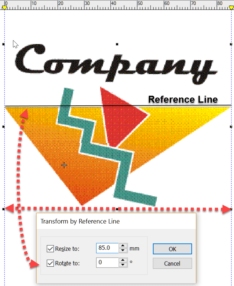 Transform by reference line